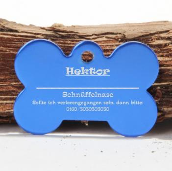 Hundemarke in Knochenform blau